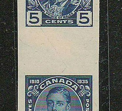 Canada #214GP XF 1935 5c Edward Vertical Wide Gutter Proof Pair