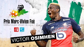 Best African Player In Ligue 1: Lille's Victor Osimhen Wins Prix Marc-Vivien Foe 2020