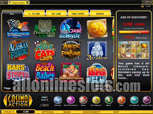Casino Action Review at AllOnlineSlots.com