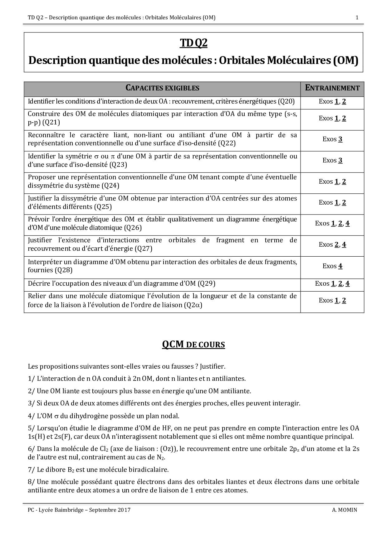hight resolution of description quantique des mol cules orbitales mol culaires exercices