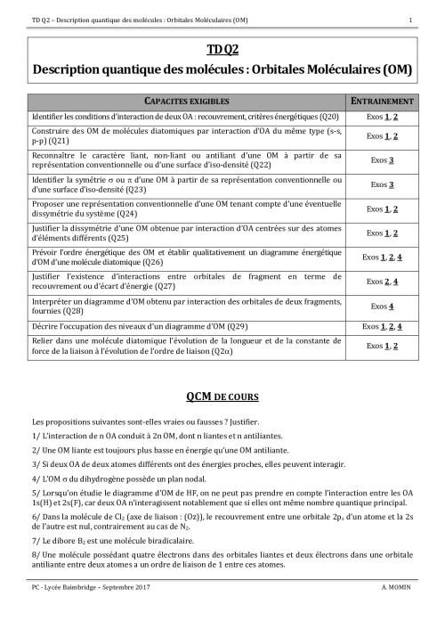 small resolution of description quantique des mol cules orbitales mol culaires exercices