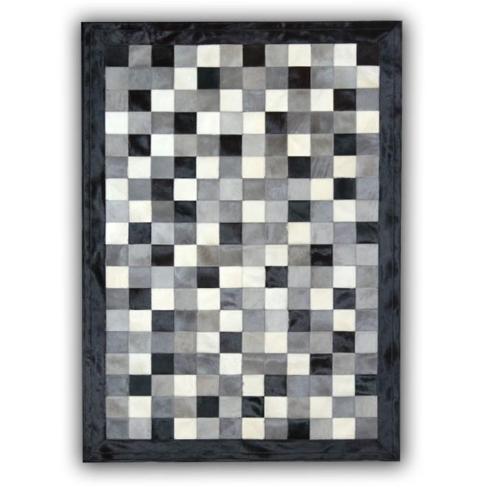 tapis en peau de vache gris noir et blanc patchwork cordoue
