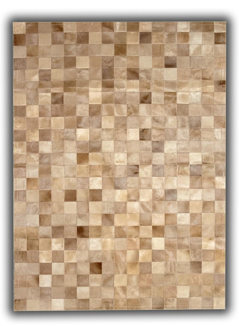 tapis beige patchwork en cuir naturel elche