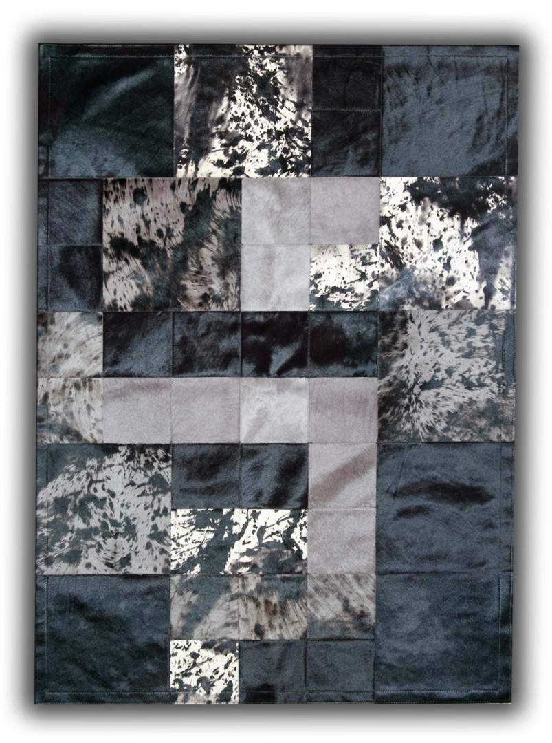 tapis moderne en cuir naturel noir patchwork alcobendas