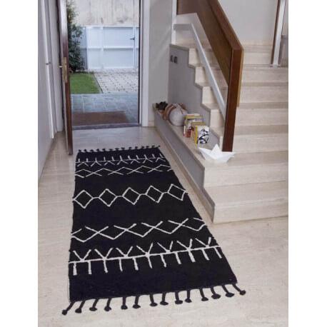 tapis noir et beige en coton naturel avec franges bereber black lorena canals