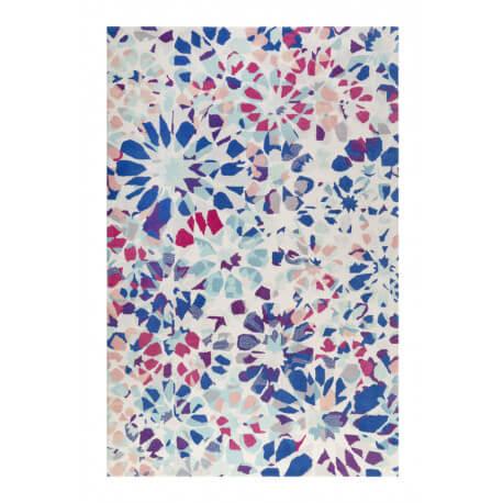 tapis en laine bleu marine floral kaleidoscopes