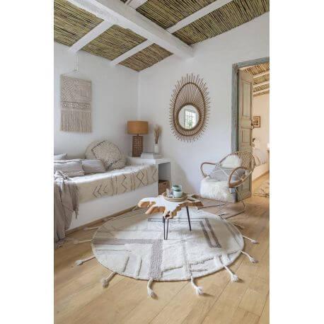 https www allotapis com tapis rond avec franges en laine lavable en machine teepees lorena canals