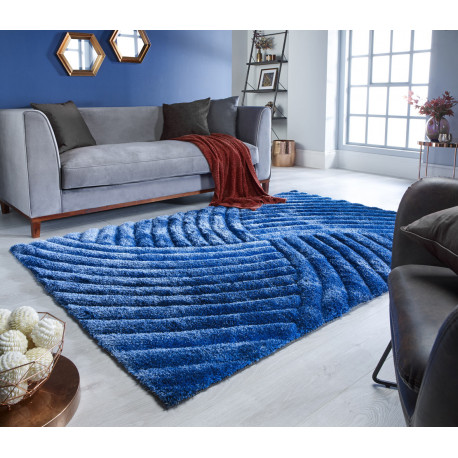 tapis shaggy effet 3d courbe rectangle