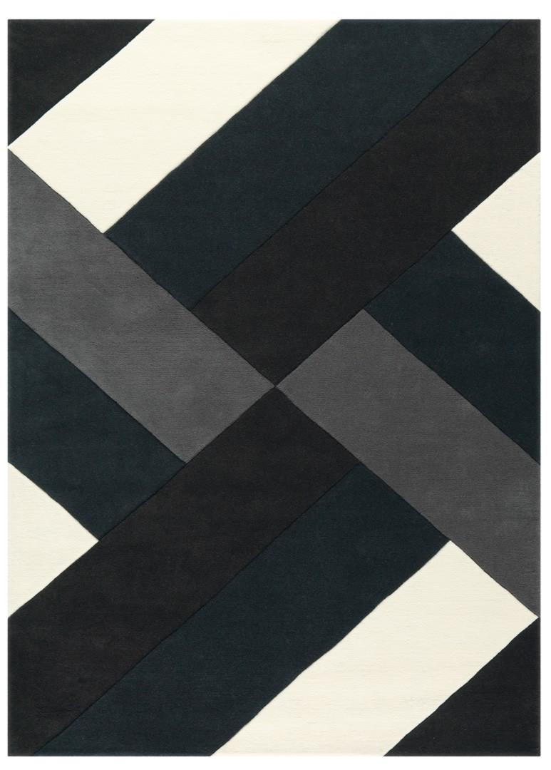 tapis moderne noir et blanc tweed arte espina
