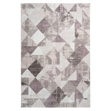 tapis vintage polyester rectangle taupe raye monto
