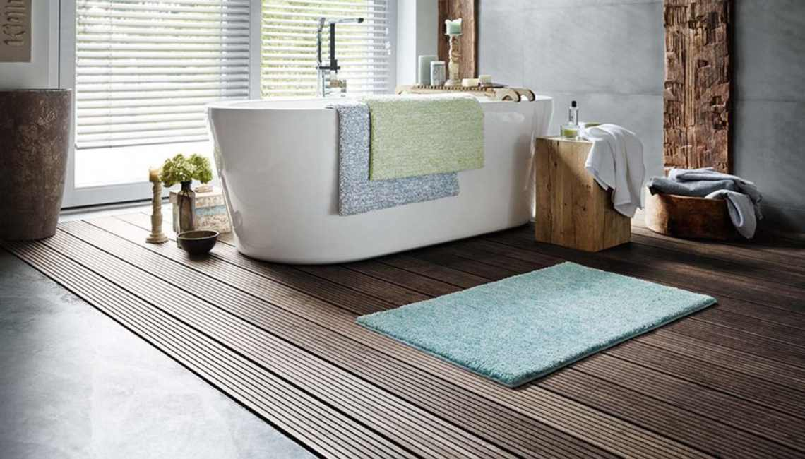 Tapis uni pour salle-de-bain turquoise Harmony Esprit Home