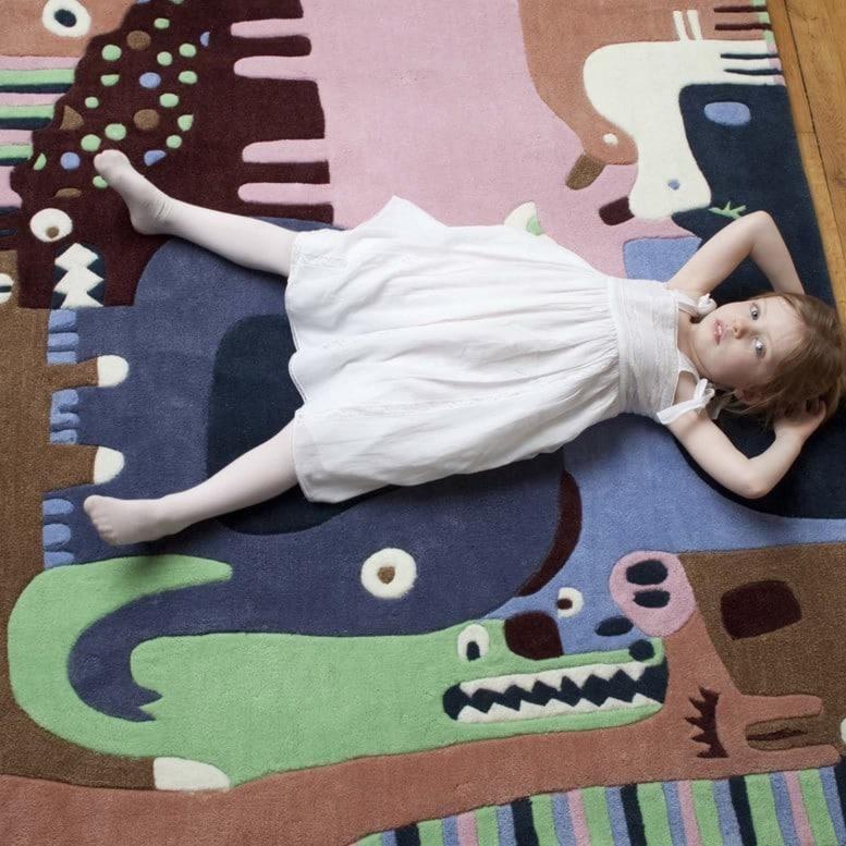 Tapis rectangle pour enfant Puzzle Animaux Art For Kids