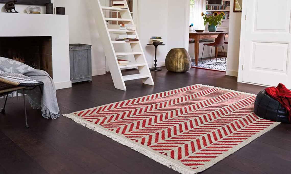 Tapis plat tissé main en laine et chanvre rouge Ethno Esprit Home