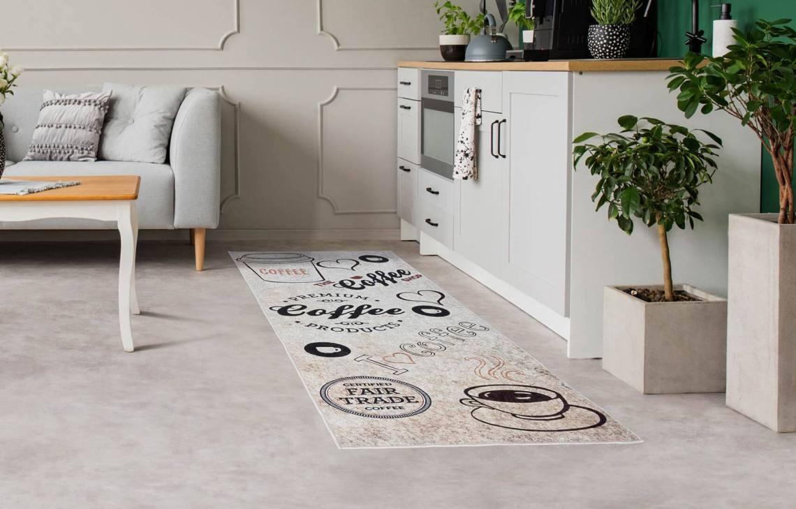 tapis de cuisine beige