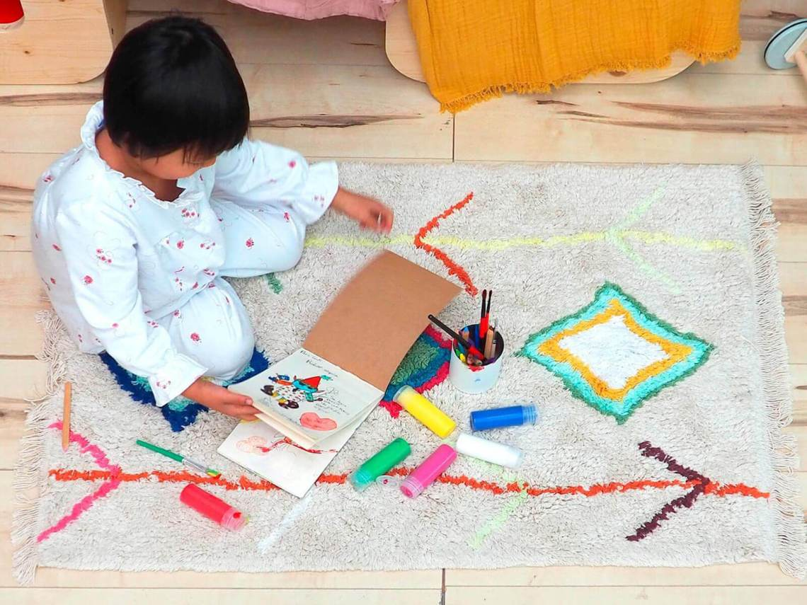 tapis avec franges ethnique