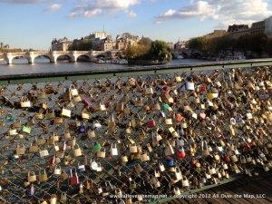 Love locks on a bridge in Paris