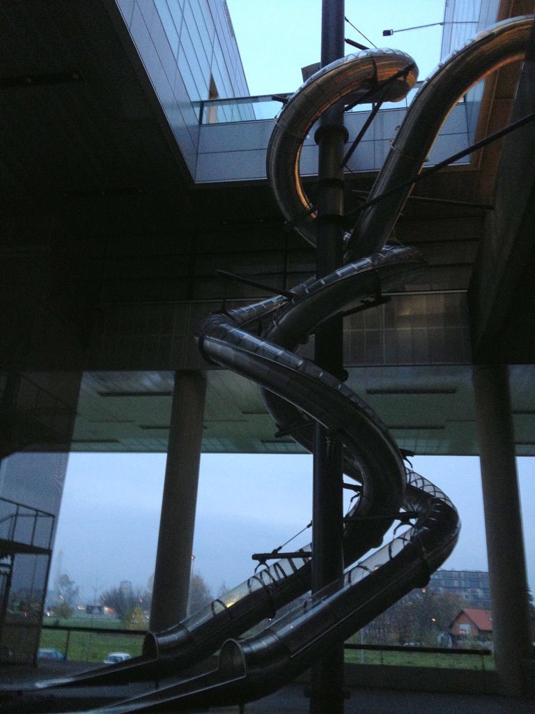 Three-story slides at the Museum of Modern Art in Zagreb, Croatia