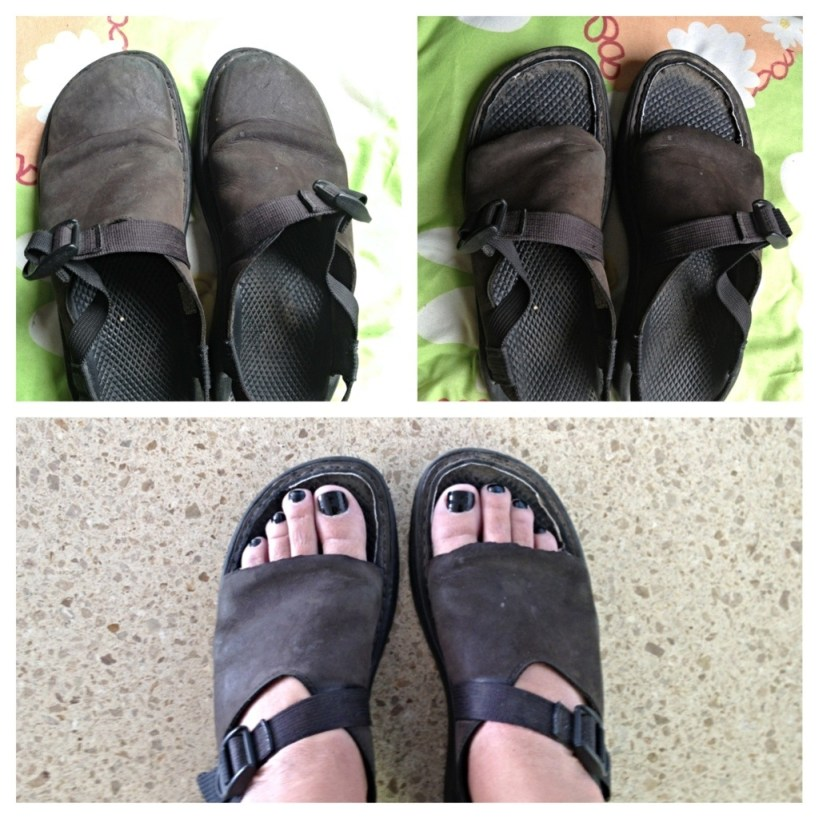 Photographic evidence of the alteration of Paige's hiking shoes. John cut the toes our of her Chaco clogs to make them into somewhat convincing sandals.