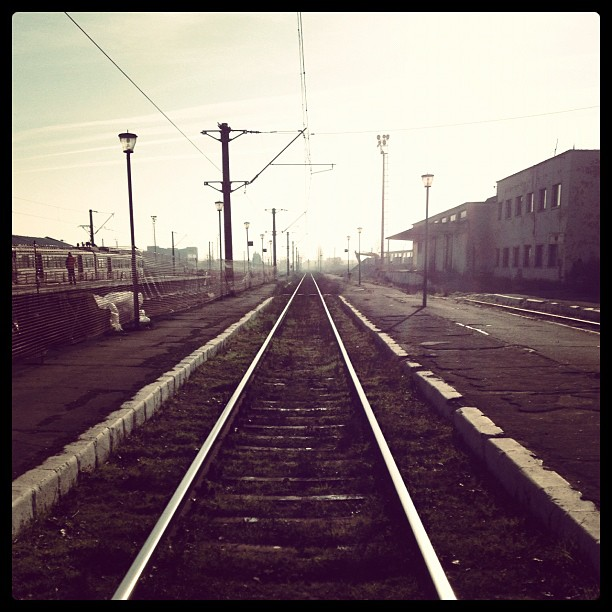 A view from the center of the train tracks in Romania