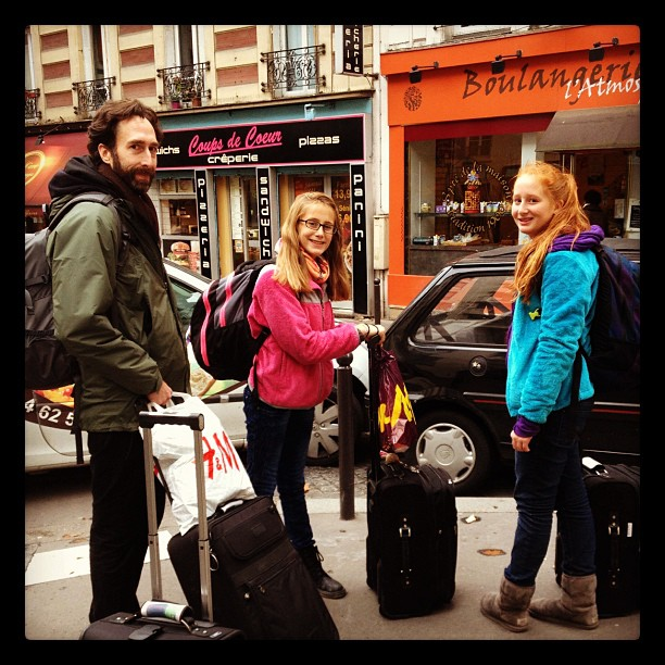 John, Calla and Magnolia are packed and ready for our Eurail adventure from Paris to Istanbul.