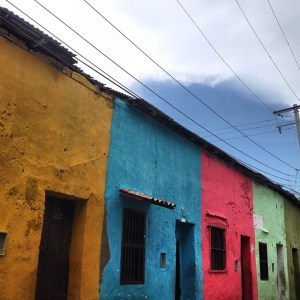 Some colorful houses in the Getsemeni neighborhood in Cartagena.