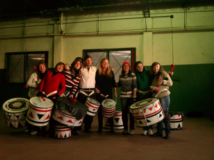A band of samba-reggae drummers in Buenos Aires