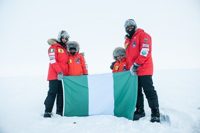 Family Become First Nigerians to Reach Geographic North Pole, Raising Awareness of Challenge 100 and Remembering the Adbucted Girls of Chibok