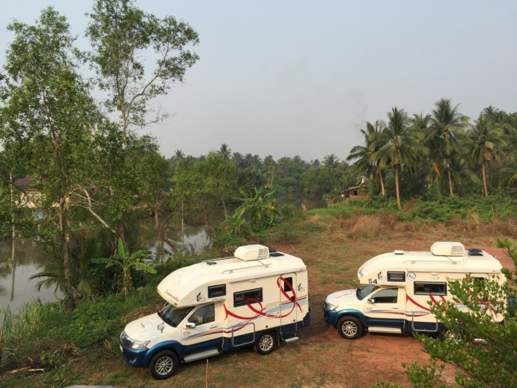 Campervan Thailand by the river at Baan Suan Krua