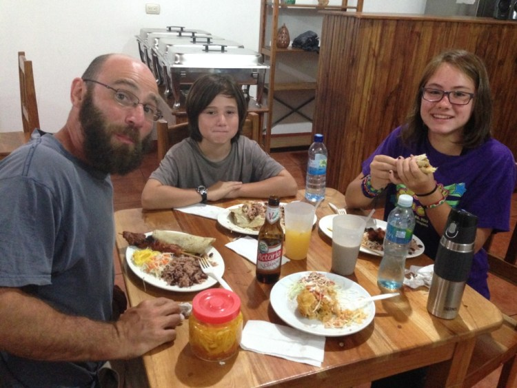 Enjoying a dinner of grilled meat in Nicaragua- our third meal in our third different country for the day. We had breakfast in El Salvador and lunch in Honduras (and a morning snack of grilled meat in Honduras as well.)