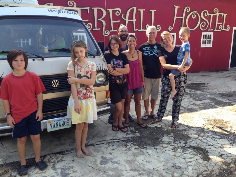 J, Emilia, Coconut, me, R, Matt, Michelle and Matty at the Waterfall Hostal in David, Panama.