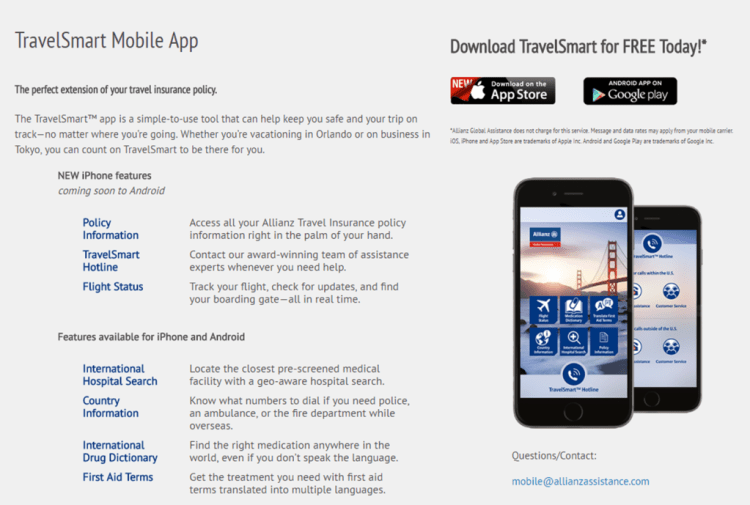 features of travelsmart app