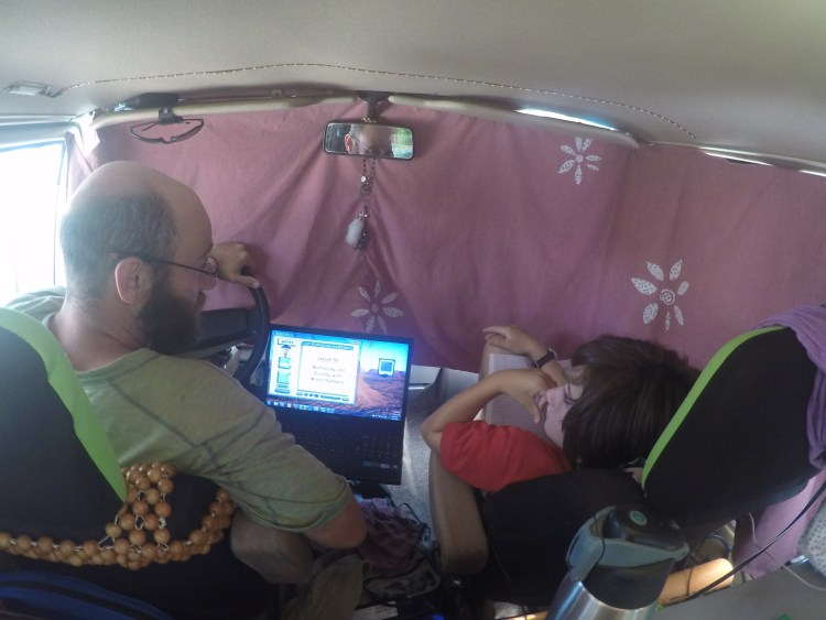 Our 'classroom'. Homeschooling didn't go as we planned.