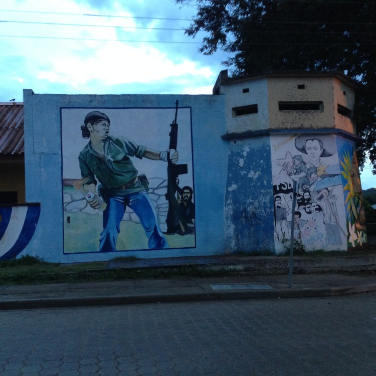 Evidence of the revolution. In the 1980's revolutionaries roamed the hills around Somoto and their presence is still felt with murals like these.