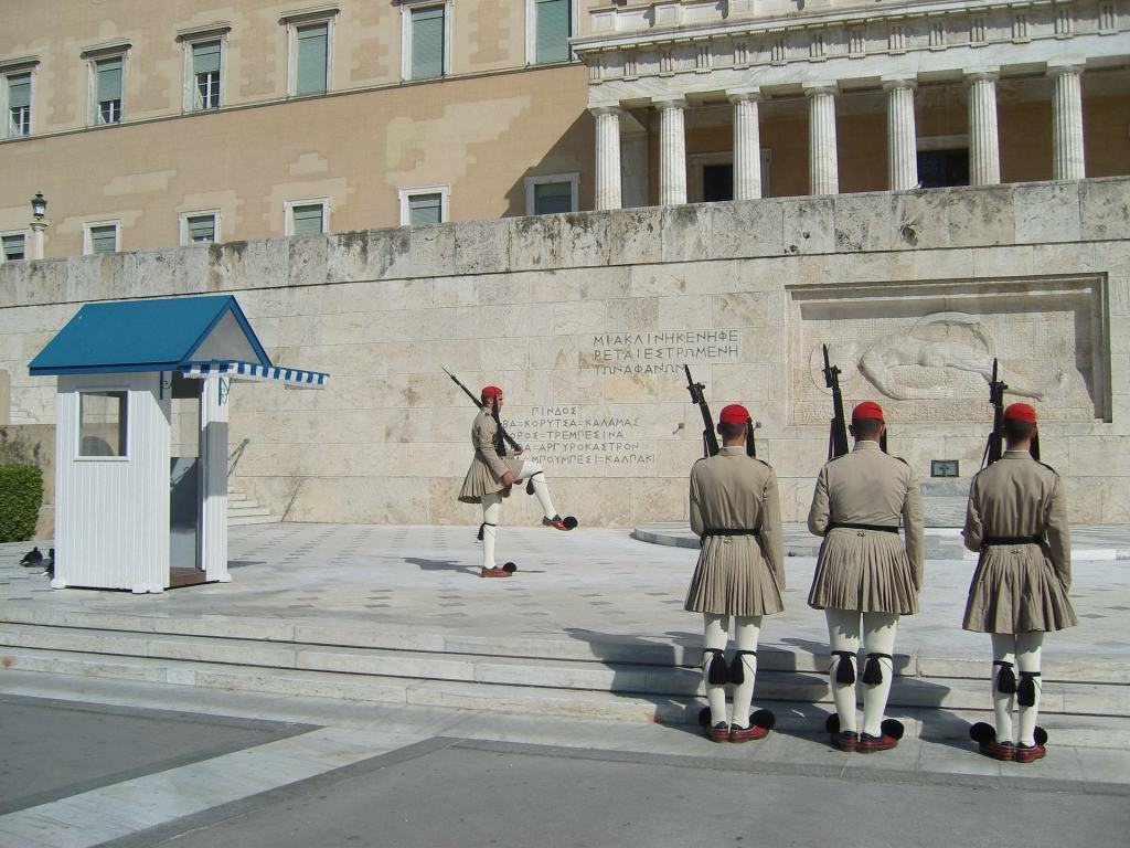 Changing of the guards in front of the parliament.