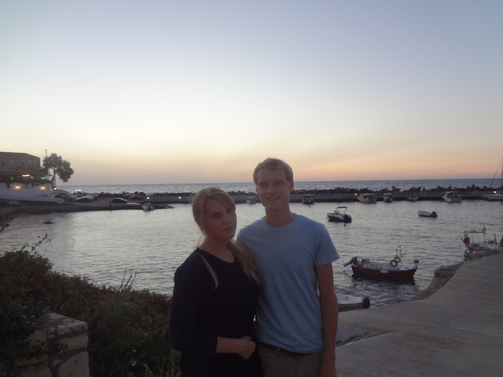 The author and his sister at the small harbour of Panormos