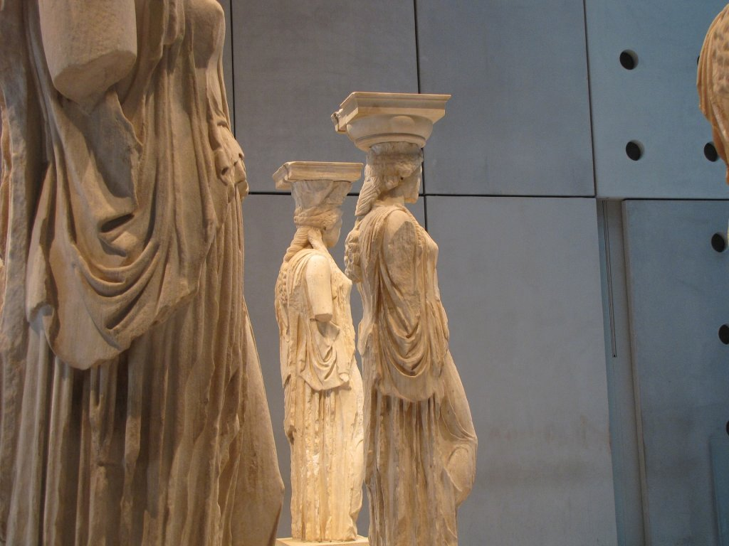 Caryatids at the Acropolis Museum - Family Trip to Greece