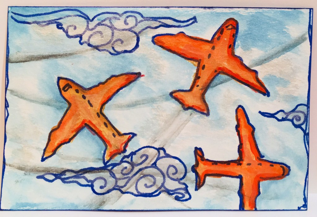 Travel Vision Postcard - three orange airplanes on a blue sky background - watercolor