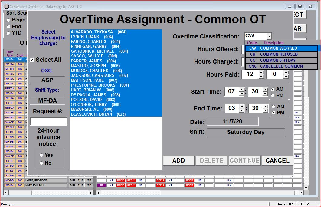 Schedule Common Overtime For Multiple Employees
