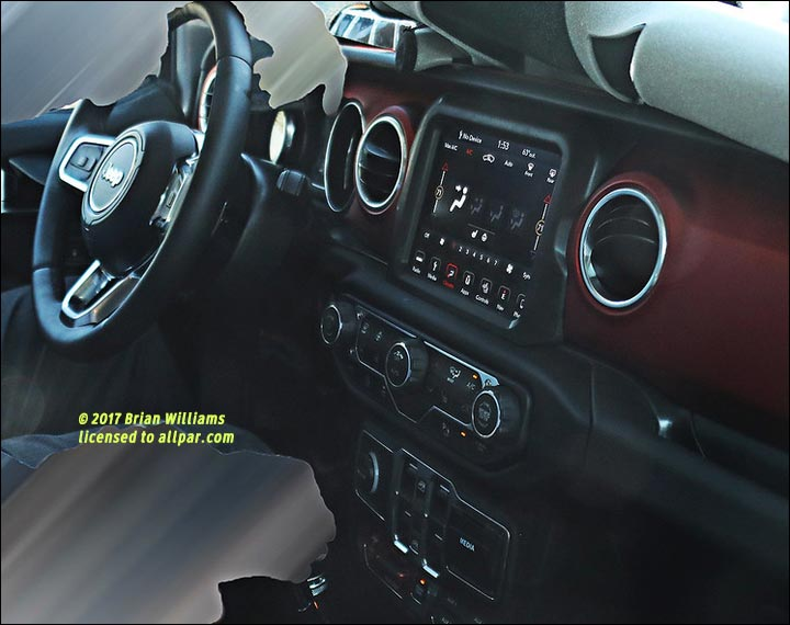 spy shot - 2018 Jeep Wrangler JL dashboard