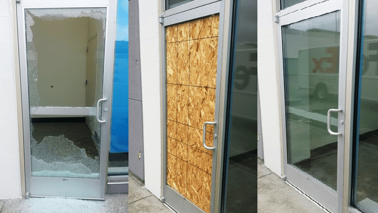 Shop Security Door Glass Broken Glass Fix Replaced And Secured By