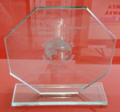 Glass repair UV bonding of  Awards and Trophys in ireland
