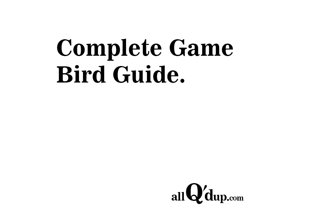 Game Bird Classifications and Grading