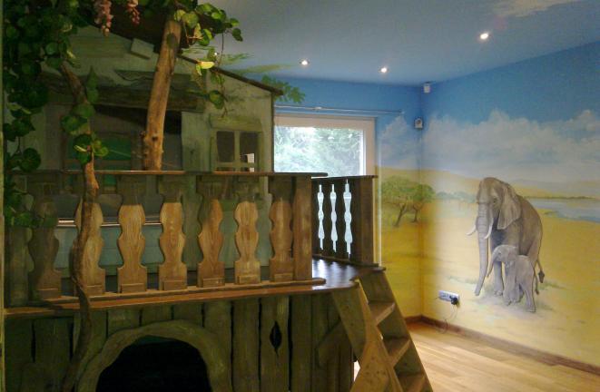 Allround Deco  Kinderbedden Junglebed met speelruimte