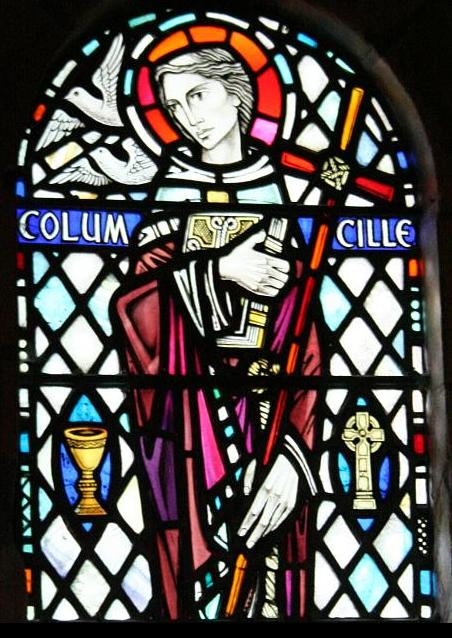 Columba Stained Glass window. Thanks to By Vegansoldier (Flickr) [CC BY-SA 2.0 (http://creativecommons.org/licenses/by-sa/2.0)], via Wikimedia Commons