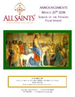 Announcements 03.25.2018 Palm Sunday