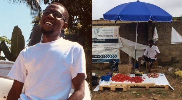 Reactions as handsome young graduate becomes pepper seller, showcases his  business