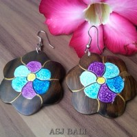 wooden earrings hand painted bali designer - wooden ...