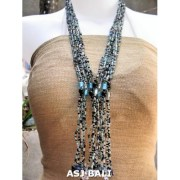 glass bead necklace multiple strands