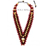 bali wood beaded color necklaces