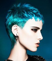 colored short funky hairstyle